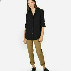 Everlane relaxed silk shirt black size 12